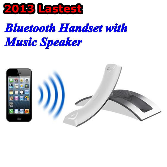 2013 Lastest Bluetooth Mobile Phone Receiver/ Telephone Handset Headset with MP3 Speaker Free Shipping