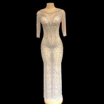 Mesh Flower printed Rhinestone long Dress Women's Evening Party Perspective Luxurious Dress Prom Birthday Celebrate Dresses