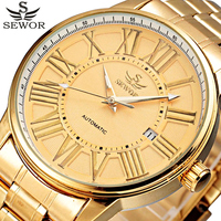 2016 SEWOR Gold Full Stainless Steel Automatic Mechanical Watch Men Auto Date Mens Designer Watches Clock