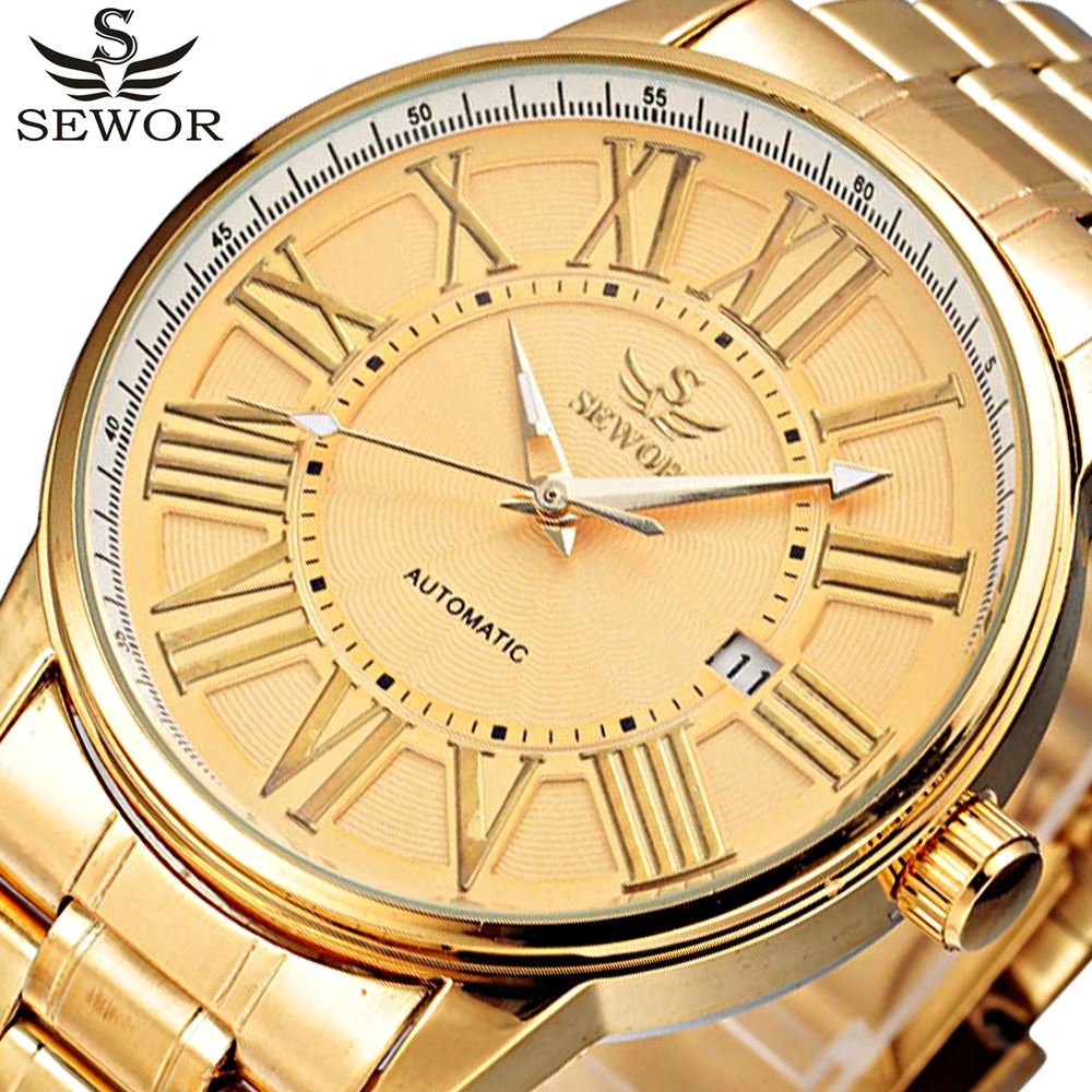 лучшая цена SEWOR Gold Full Stainless Steel Automatic Mechanical Watch Men Auto Date Mens Designer Watches Clock Men Relogio Masculino