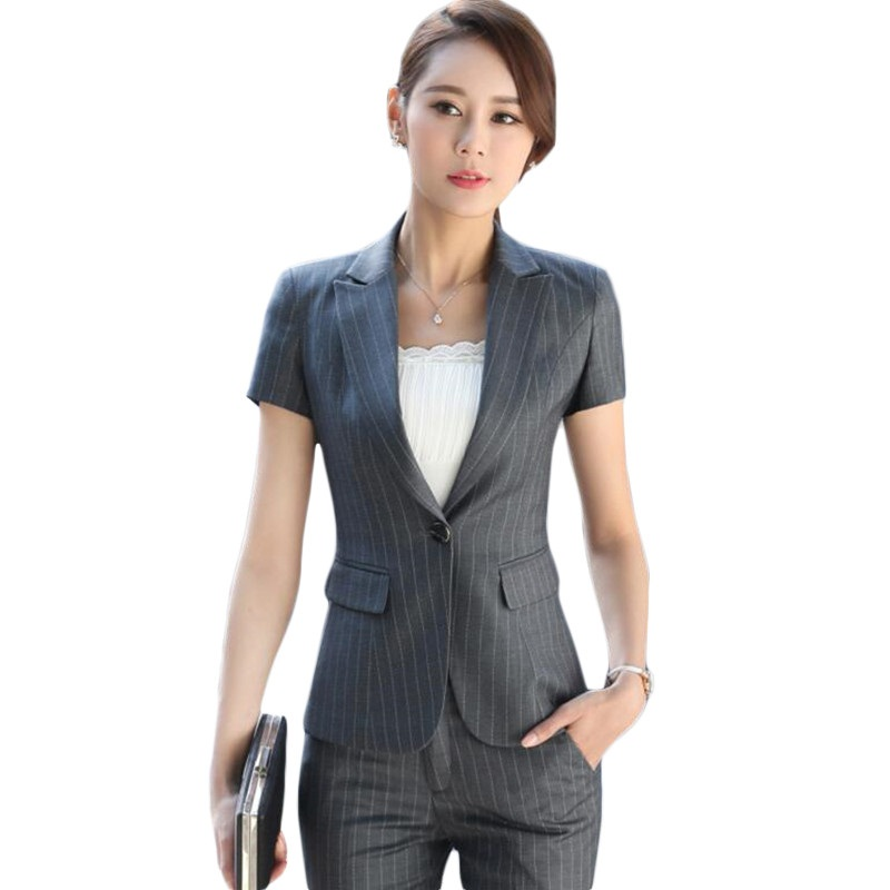 2525a8f50a Spring suit womens fashion three-piece 2018 new striped small suit jacket  short leisure womens Pant Suits