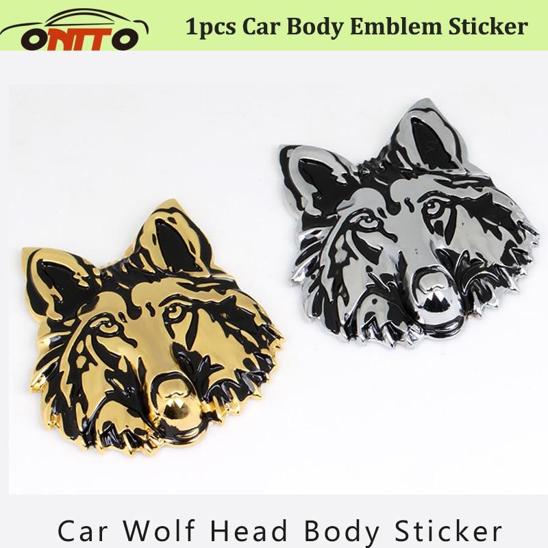 Free Shipping Car body Emblem Word Sticker 3D Trunk Emblem Stickers Logo Decoration Metal Wolf head totem