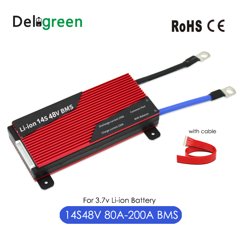 Deligreen 14S 80A 100A 120A 200A 58.8V BMS For 3.7v Lithium Battery Pack With Waterproof And Balance Function