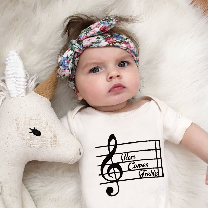 DERMSPE 2019 New Casual Newborn Baby Boy Girl Short Sleeve Letter Print Here Comes Jretle Cotton Romper Baby Clothes White