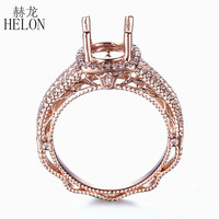 HELON Solid 14K (585) Rose Gold Round Cut 8mm Gift Semi Mount 0.3ct Real Diamonds Engagement Vintage Art Deco Fine Jewelry Ring