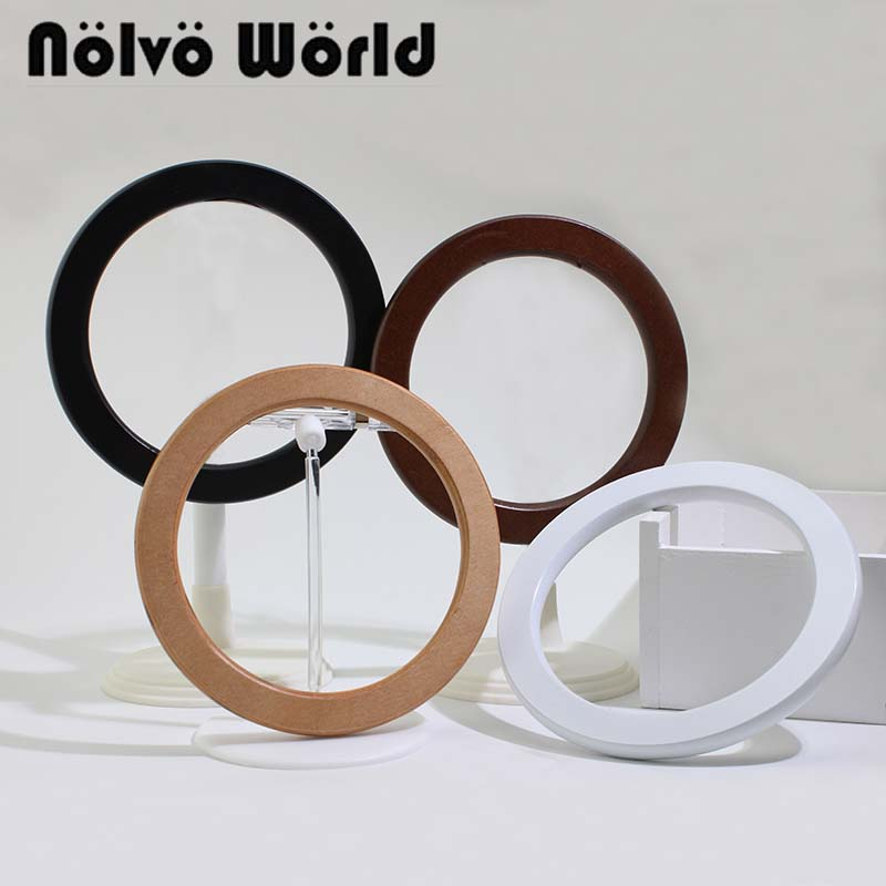 5 Pairs=10 Pieces,14cm 4 Colors Mix,natural Wood Tabular Edge Round Handle,white Knit Bags Circle Ring Wooden Rounden Handles