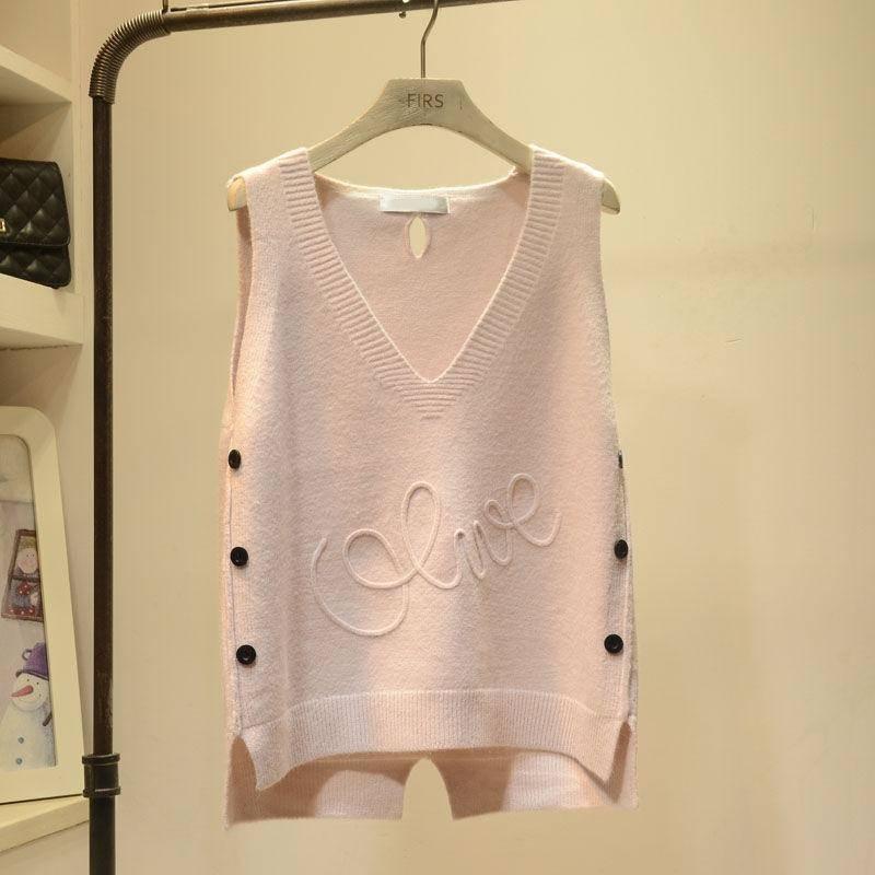 2019 Spring Autumn Female Solid V-Neck Vest Women's Knitted Tank Tops Femme Loose Sweater Pullover Korean Sleeveless Vest A19 3