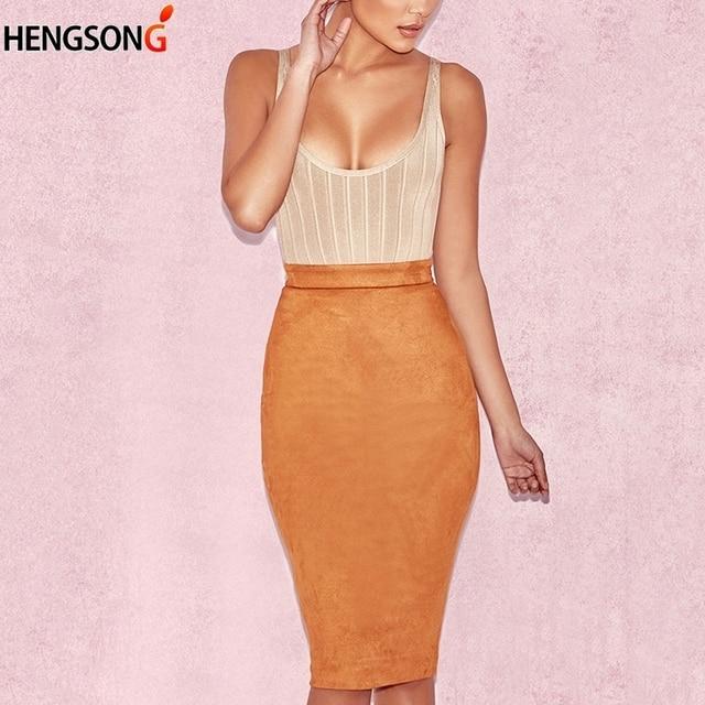 858257c967a83 Autumn Suede Midi Skirt High Waist Corduroy Skirt Womens Zipper Through  Pencil Skirt Saia Midi Winter Skirts