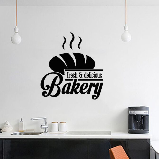 Wall Sticker Bakery Style Wall Decal Removable Vinyl Bread Shop Design Window Art Mural Kitchen Baking Decoration Decal AY567
