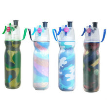 Sports 550ml Aqua Drink Water Bottles Mist Spray 2 Wall Insulated Professional Bottle for Outdoor With Cup Brush