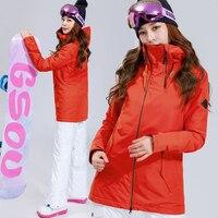 GSOU снег зима 35 градусов женский лыжный костюм женский Сноубординг костюмы водостойкий 10 К красный теплый лыжный пиджак + брюки Открытый Спо