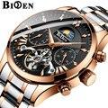 Топовые Роскошные Брендовые мужские часы BIDEN  автоматические механические часы Tourbillon  повседневные деловые стальные часы в ретро-стиле  ...