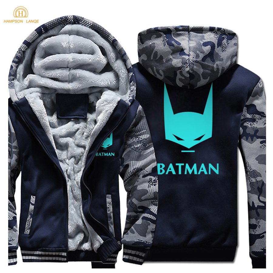 Superman Series Cartoon Batman Sweatshirts 2019 Winter News Style Raglan Hoodies Warm Fleece Men Thick Jacket Fashion Mens Coat