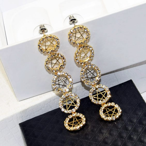 Charmcci Fashion Luxury Full Crystal Rhinestones Star Long Statement Drop Earrings Wedding Women Party Jewelry Accessories
