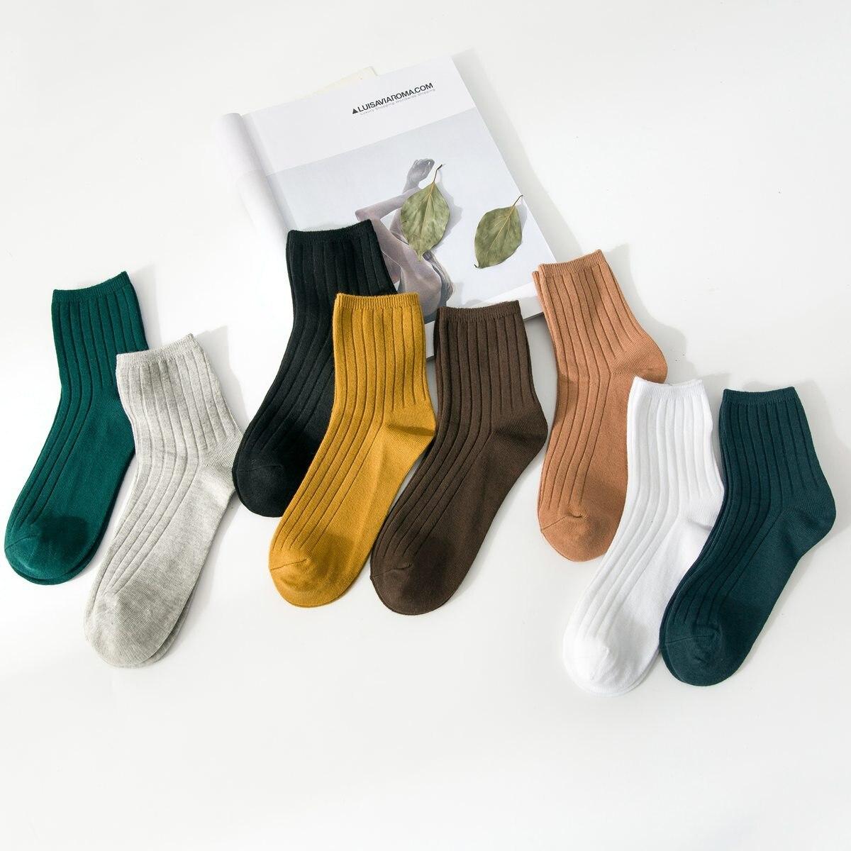 Mujeres calcetines algodón doble aguja espesado otoño e invierno nuevo color sólido casual calcetines absorbentes sudor desodorante algodón