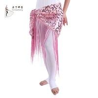 Cheap Belly Dance Clothes Women Dancewear Long Fringe Hand Crochet Triangle Belt Belly Dance Hip Scarf