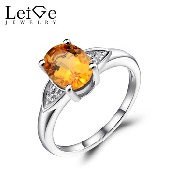Leige Jewelry Natural Citrine Ring Yellow Stone Oval Shaped Wedding Engagement Rings for Women Sterling Silver 925 Fine Jewelry