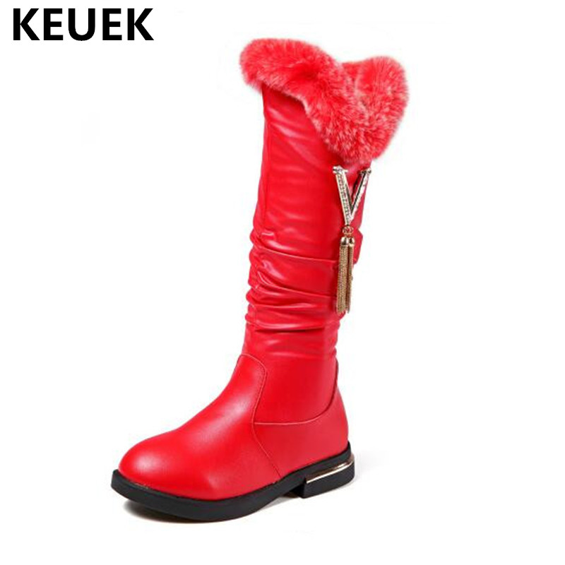 New Children Shoes Genuine Leather Winter Snow Boots Kids Girls Rhinestone Pendant Fringe Knee-High Baby Rabbit fur boots 04 цены онлайн