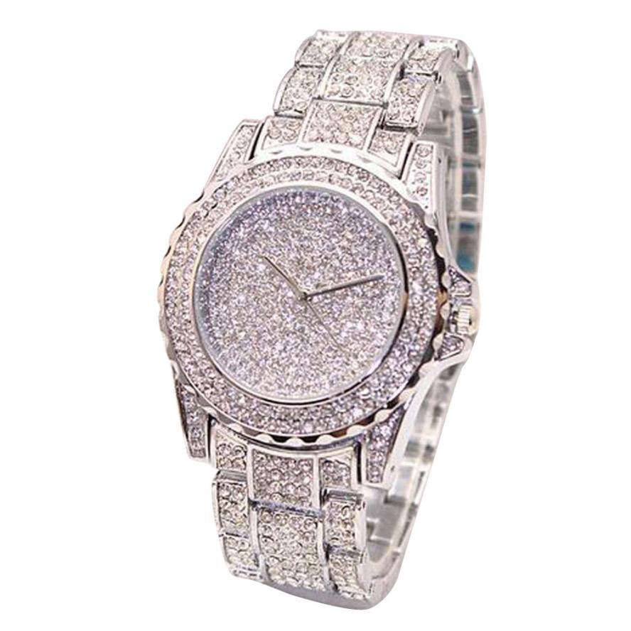 Golden New Clock gold Fashion Men watch Diamonds Stainless Steel Quartz watches Wrist Watch Wholesale watch men 2018  #D