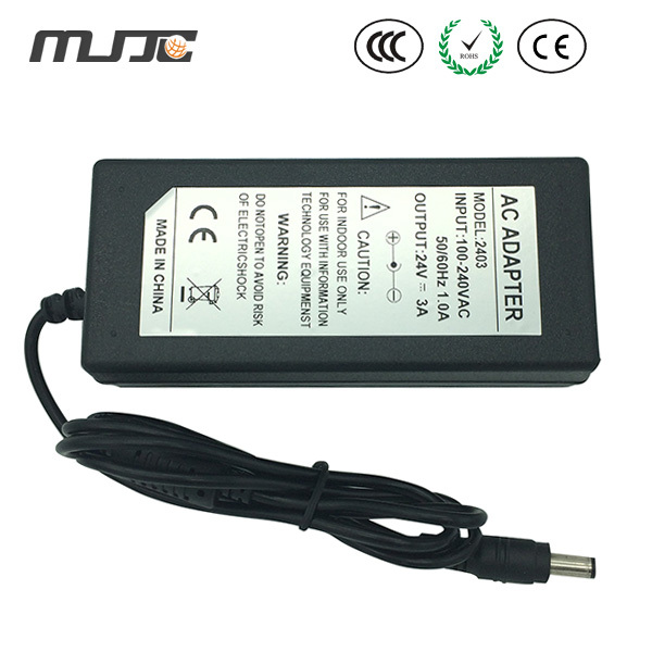 MJJC 24V 3A led Desktop Adapter Power Adapter 72w Power Supply with U.S./EU. Standard for led light