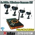 4 pcs 2.4 GHz IR Outdoor Night Vision Camera + Receptor Sem Fio DVR H.264 Cartão SD de Armazenamento Câmera de CCTV DVR KIT, ZJ128DR4