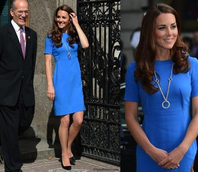 2014 New Celebrity Princess Kate Middleton Dress Blue Cut  Brief Dress Women Work Wear Office Dress Big Plus Size XXXL XXXXL