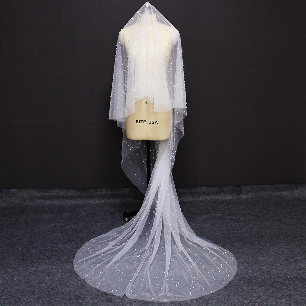 High Quality Pearl Wedding Veil WITHOUT Comb Cover Face Long One Layer Bridal Veil With Pearls Wedding Accessories 2019