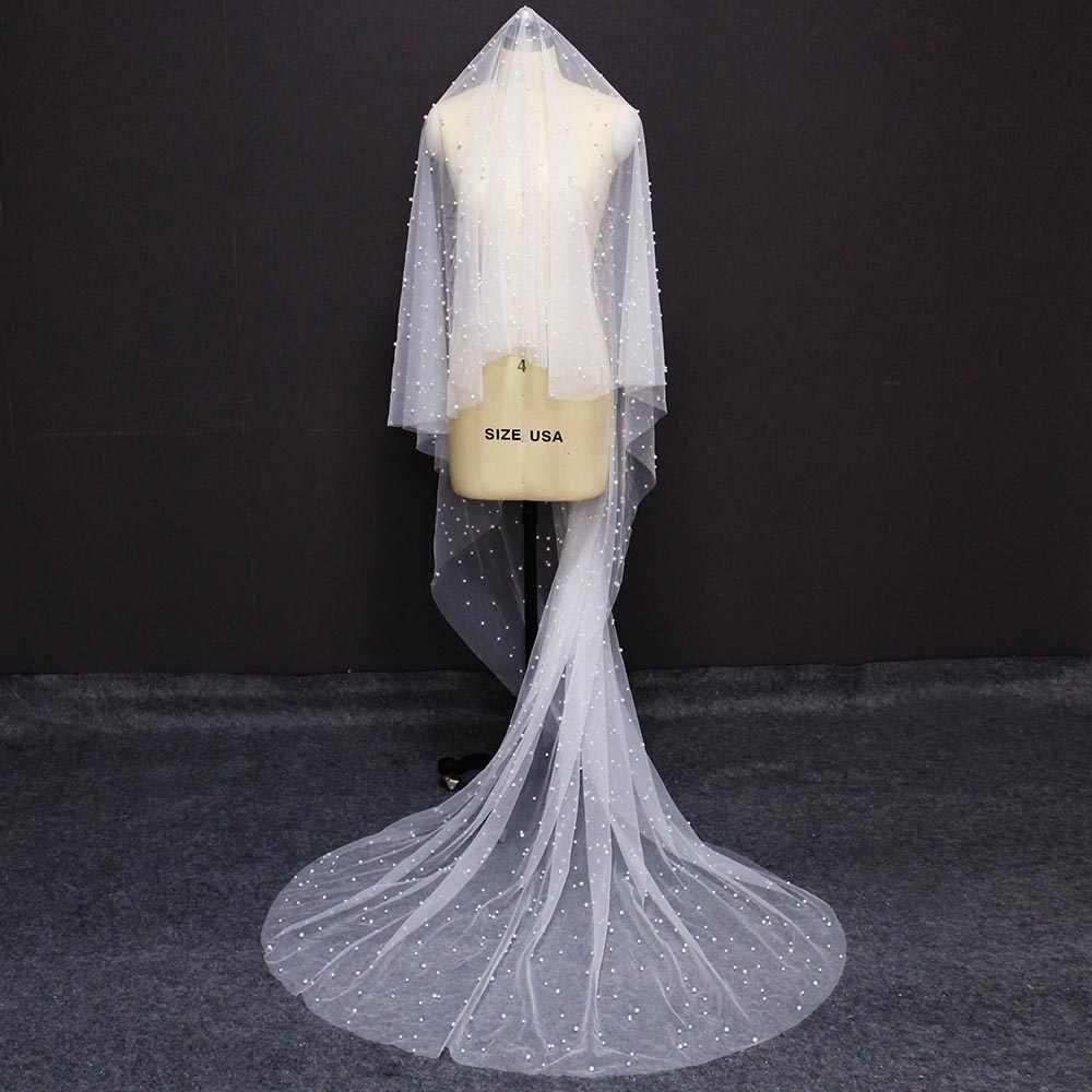 Hohe Qualität Perle Hochzeit Schleier OHNE Kamm Abdeckung Gesicht Lang Eine Schicht Braut Schleier mit Perlen Hochzeit Zubehör