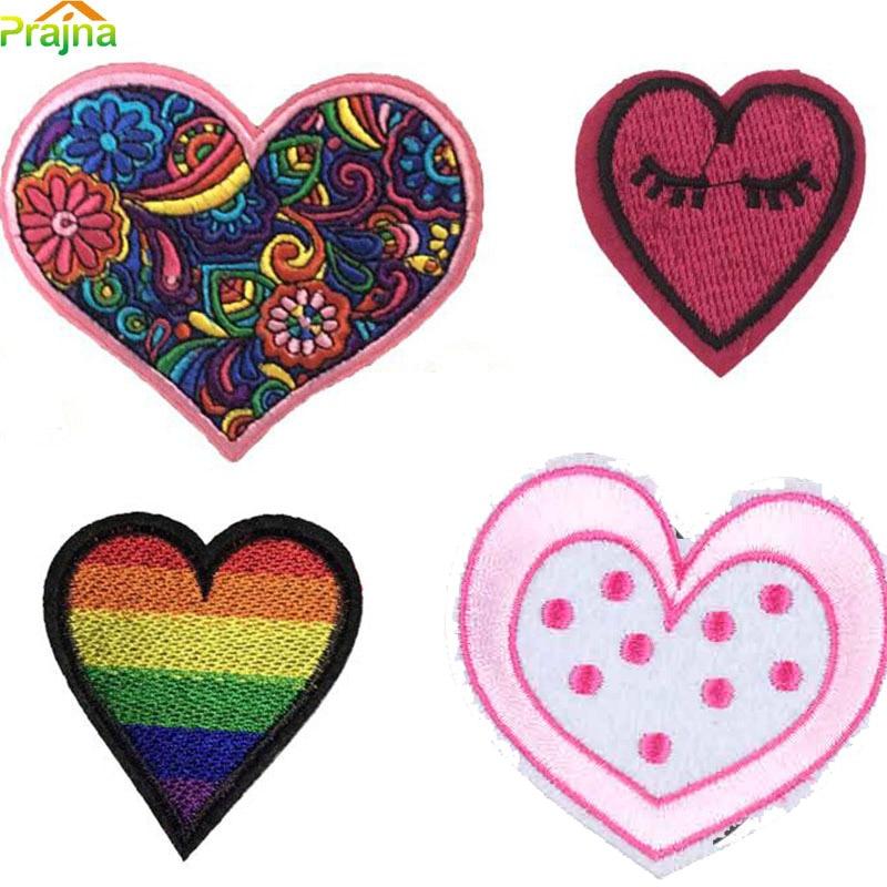 1pcs Heart Patch Rainbow Kids Iron On Cartoon Patches Cheap
