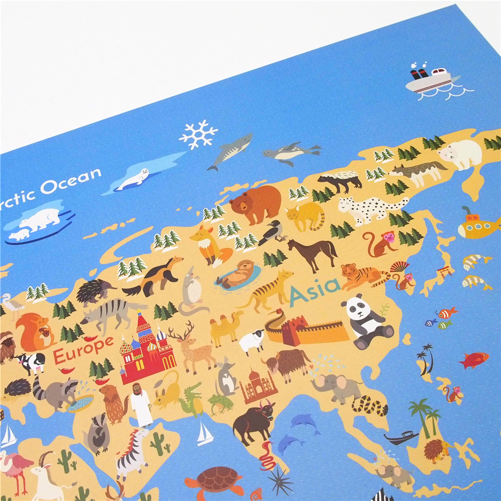 Free ship Ancient sailboat Animal World Map poster paint retro ...