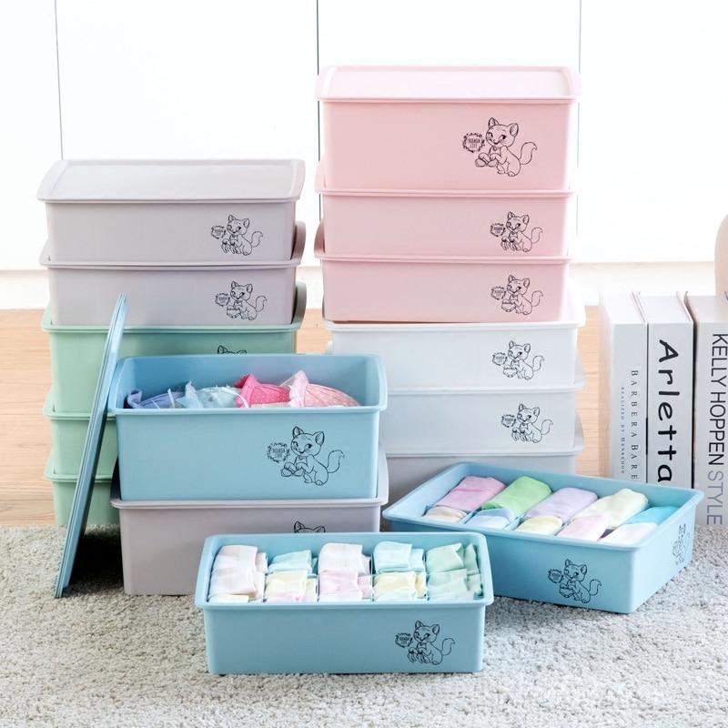 Drawer Style Covered Underwear Storage Box Three Piece Plastic Bra Underwear  Socks Finishing Box Storage Box
