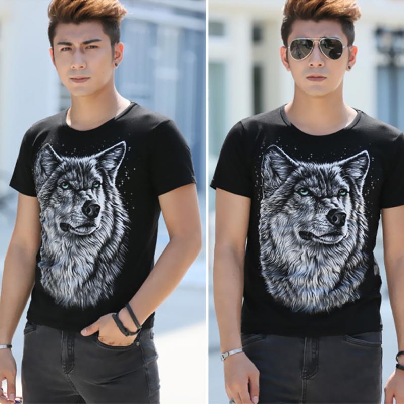 793cb254e20e Summer T-shirt Men 3D Print Wolf Short Sleeve T Shirts Casual Brand Me