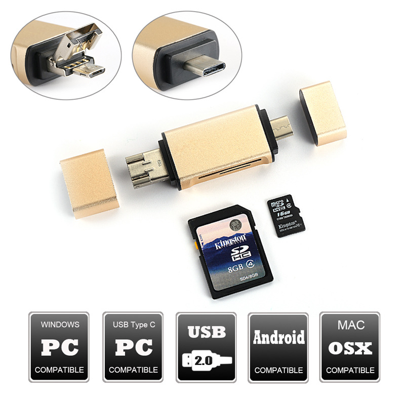 Image 2 - 3 In 1 MicroSD SD TF USB2.0 MicroUSB Type C OTG Universal Memory Card Reader Design for Ipad  Android Phone PC Macbook-in Card Readers from Computer & Office