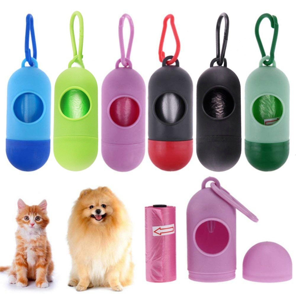 Portable Pill Shape Dog Poop Bags Dispenser Biodegradable Shit Poo Waste Bag Hold Box Garbage Poop Bags Carrier Pet Products