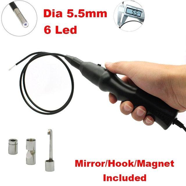 Envío Libre! 5.5mm Tube Cámara de Inspección Del Endoscopio Del Animascopio del USB W/Gancho Libre + Maganet + Espejo