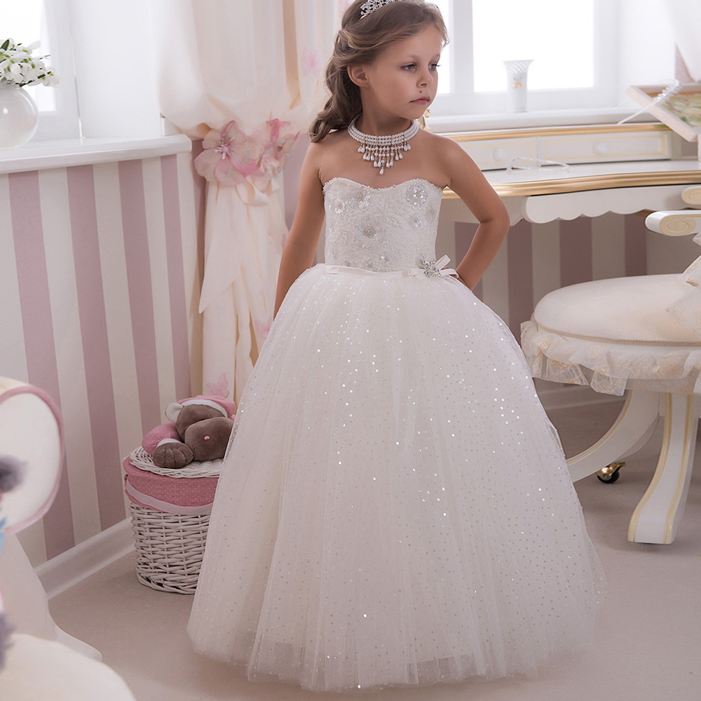 Sparkle Bling Bling Sequined Kids Puffy Ball Gowns Strapless Bow Sash Long White Little Girl Wedding Party Dress 0-12 Year Old bling my 1st camo dress tree little princess white shirt camouflage bow petal skirt nb 8y
