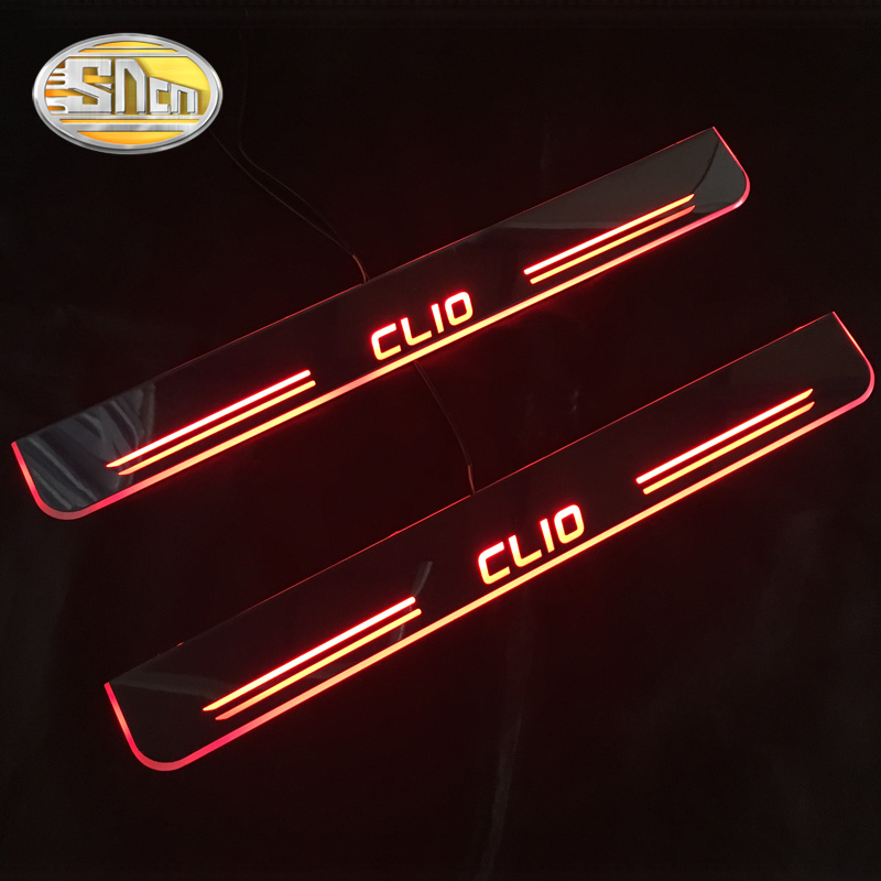 SNCN Waterproof Acrylic Moving LED Welcome Pedal Scuff Plate Pedal Door Sill Pathway Light For Renault Clio 4 IV 2013 - 2016