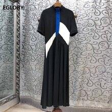 Latest Fashion Desinger Dress 2019 Summer Style Women Stand Neck Color Block Patchwork Short Sleeve Mid-Calf Black Vestido