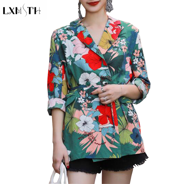 LXMSTH Harajuku Womens Floral Print Blazer 2019 New Fashion Long Sleeve Vintage Blazer Women Sashes Lace Up Casual Ladies Suit