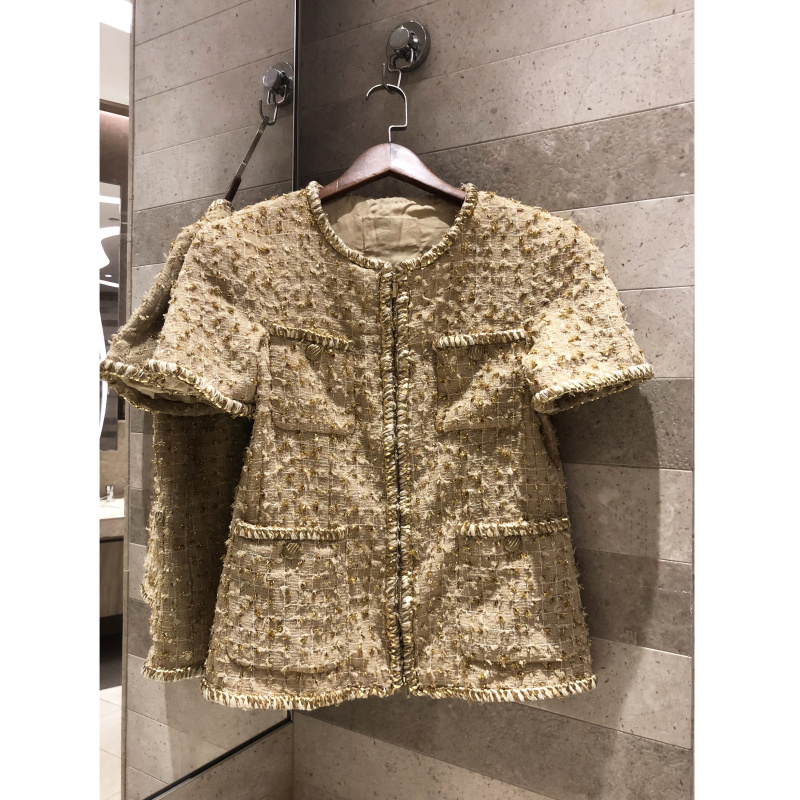 Women's   jacket   2019 Early spring retro   jacket   Gold thread weaving tweed   basic     jacket   short-sleeved zipper   jacket   silk lining