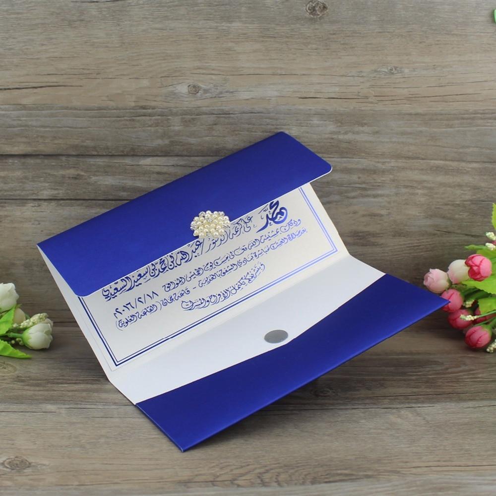 100 Piece Personalized Wedding Invitation Card Elegant Pocket Design Blue With Buckle Carte Invitation Mariage Birthday Cards 1 design laser cut white elegant pattern west cowboy style vintage wedding invitations card kit blank paper printing invitation