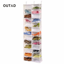OUTAD Toolless Mounting Non-woven Useful 26-Pocket Shoe Rack Storage Organizer Holder Hook Folding Hanging on Door Closet
