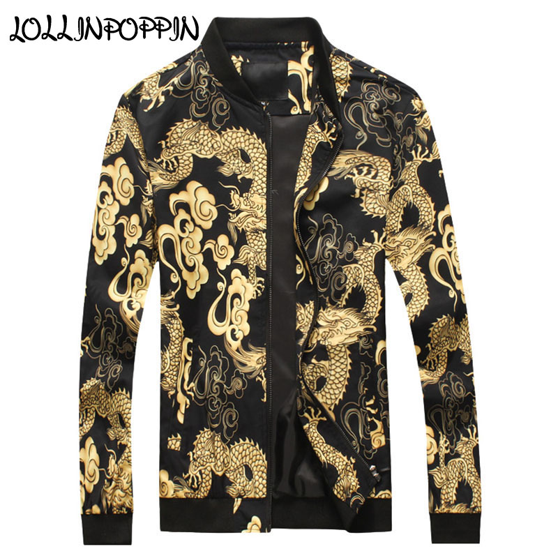 Chinese Style Dragon All Over Printed Baseball Jacket For Men Stand Collar Oriental Dragons Printed Bomber Jacket