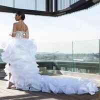 Split High Low Ruffle Wedding Dresses Off the Shoulder Organza Tiers Bridal Gown A line Wedding Dress
