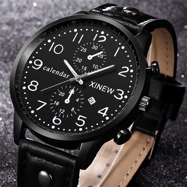 b0bcf49d0d9 Atacado Relógios Data relógios de Pulso de Quartzo De Couro Dos Homens  Homens de Negócios Relógio