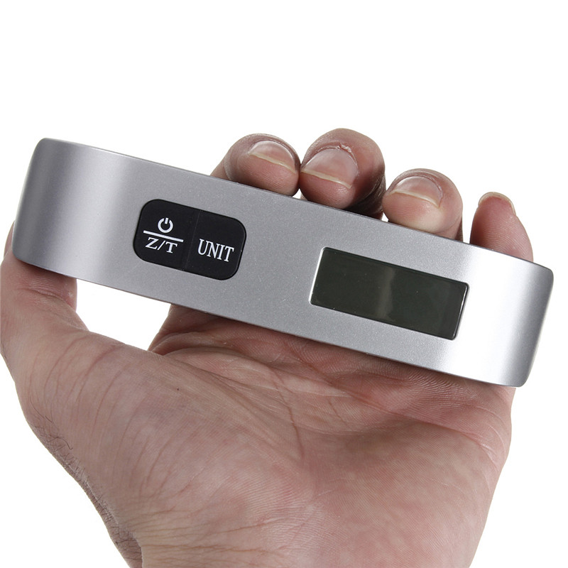 Portable LCD Digital Hanging Luggage Scale,110 Lbs Max Weight Travel Electronic Hook with Temperature Sensor