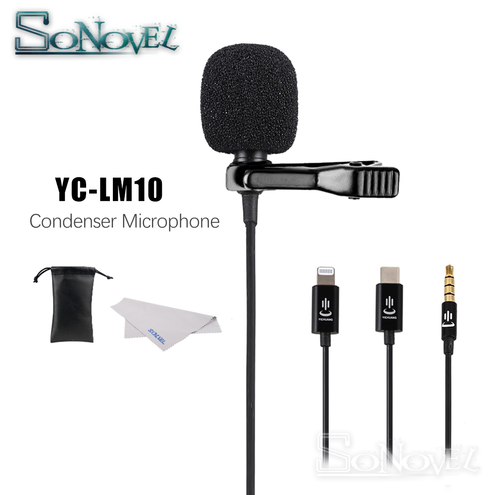 YC-LM10 Phone Audio Video Recording Lavalier Condenser Microphone For IPhone 8 7 6 5 4S 4 Ipad Huawei Sumsang Xiaomi Type C