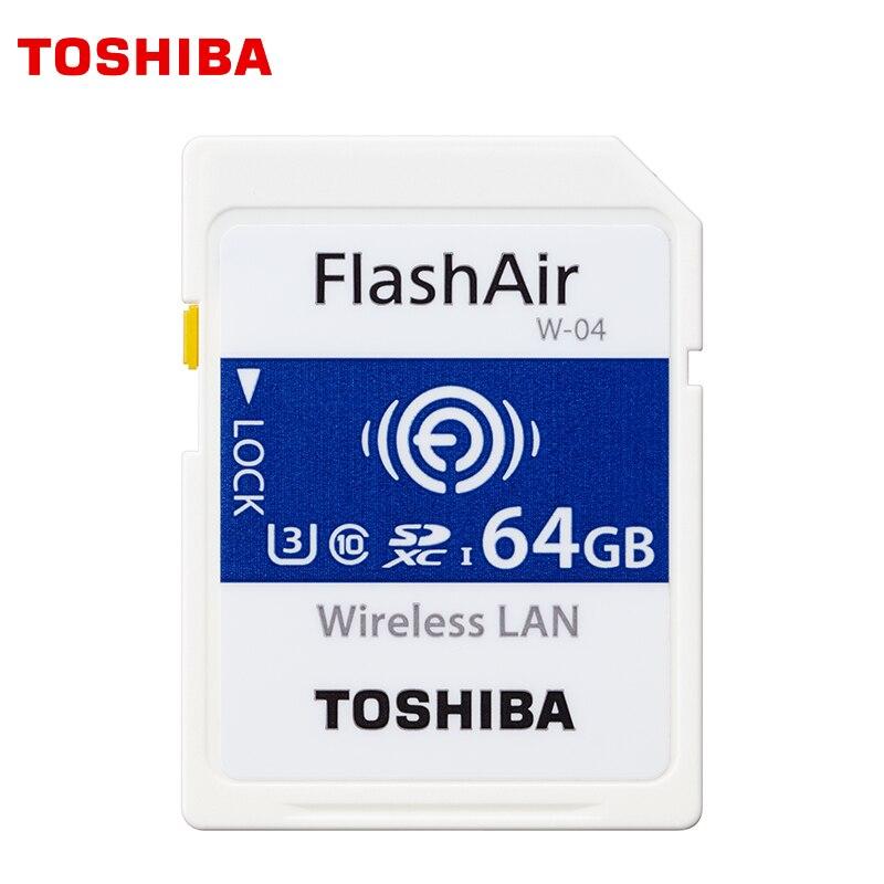 TOSHIBA Wifi SD Carte 64 GB 32 GB 16 GB Carte Mémoire U3 UHS W-04 FlashAir LAN Sans Fil Haute Vitesse 2019 NOUVEAU