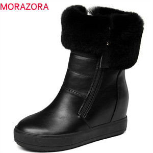 Image 1 - MORAZORA 2020 top quality ankle boots women zipper round toe keep warm winter snow boots simple solid colors platform shoes