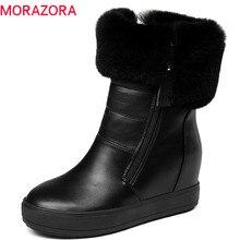 MORAZORA 2020 最高品質のアンクルブーツ女性ジッパーラウンドつま先保温冬雪のブーツシンプルな固体色厚底靴